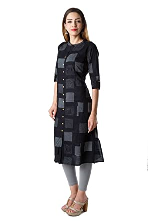 AnjuShree Choice Women's Black Cotton Straight Kurti Kurtas & Kurtis at amazon