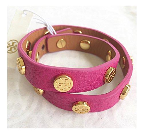 Tory Burch Double Wrap Logo Stud Bracelet Pink