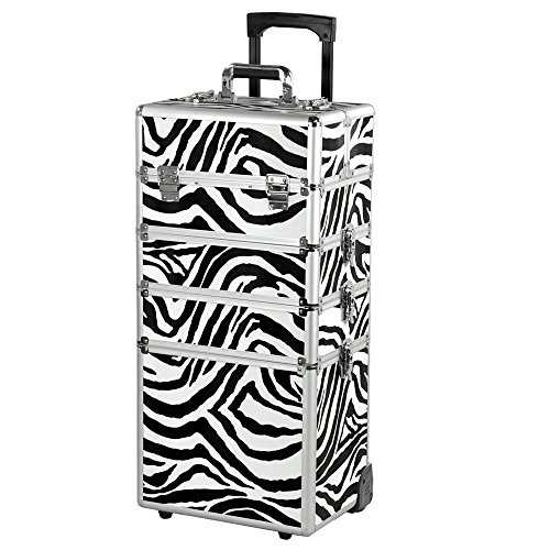 4 in 1 Aluminium Hairdressing Salon Makeup Beauty Box Nail Carry Case Cosmetics Trolley Set (Zebra)