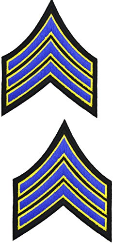 Tactical 365 Operation First Response Pair of Sergeant Rank Uniform Chevron Emblem Patches (Royal & Gold on Black)