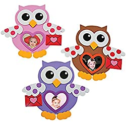 12 ~ Foam Valentine Owl Picture Frame Magnet Craft Kits ~ New / Individually packaged