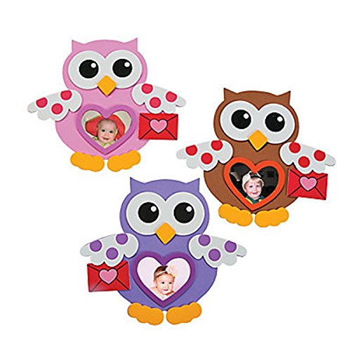 Foam Valentine Owl Picture Frame Magnet Craft Kits