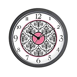CafePress - Pink Black White Damask Elegant Clock Wall Clock - Unique Decorative 10 Wall Clock
