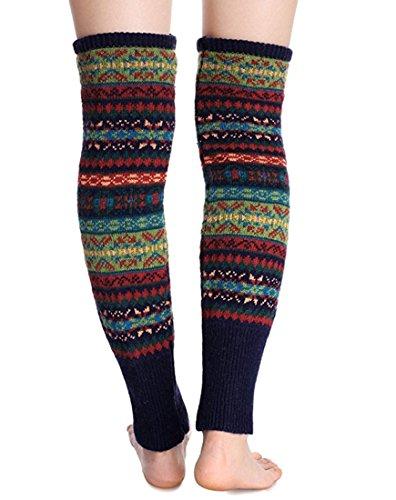 0b113bb2c Santwo Women Knee High Socks Winter Bohemian Boot Cuffs Knit Crochet Leg  Warmers