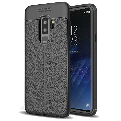 Samsung Galaxy S9 Plus Case, Crosspace Galaxy S9 Plus Case with Leather Pattern Simple Style Ultra Thin Soft Silicone TPU Shockproof Non-slip Protective Cover for Samsung Galaxy S9 Plus-Black For Sale