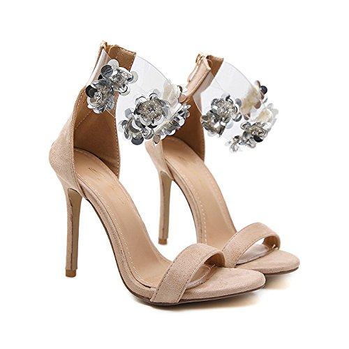 EU39 Atractivas Peep Slip Shoes Las Tacones 245 De Bombas Boda De Nude Flores Partido Sandalias On Se Correa Mujeres De oras Toe Lentejuelas Tobillo Las De Fiesta Corte Altos p4qWgq8P