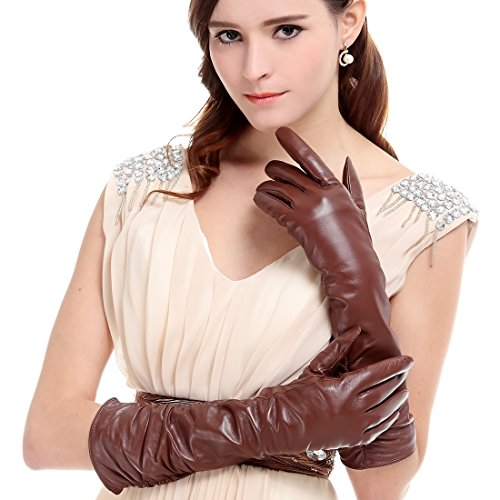 KURSHEUEL 17 inch women lady leather winter gloves Ruched elbow warm lined KU123 (M, Brown(2014 winter new /Long fleece lining / Touchscreen available))
