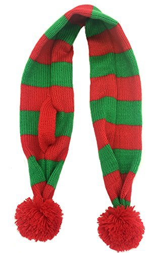 Alemon Stripe Pet Xmas Costume Accessories Knit Christmas Scarf for Pet
