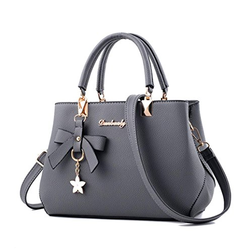 Women Leather Bow Decor Handbag Shoulder Bag Messenger Satchel Shoulder Crossbody Bag (Gray)