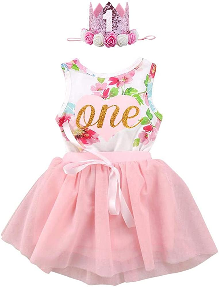 FYMNSI Newborn Baby Girl 1st Birthday Outfit First One Year Birthday Princess Dress Toddler Kids Gold One Sleeveless Floral Romper Pink Tutu Skirt Party Cake Smash Photo Shoot 2pcs Clothes Set