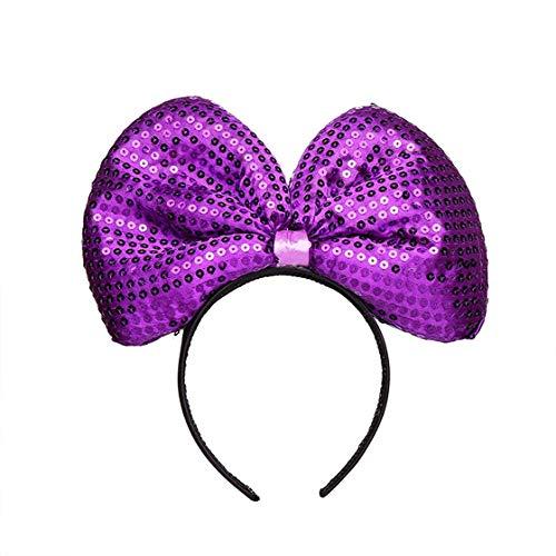 ACVIP Women's Teen's Sequined Mouse Shaped Puffed Fancy Bopper Headband (purple) -