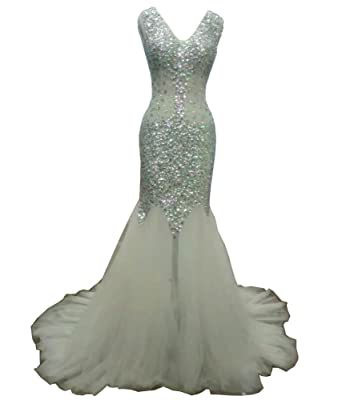a49baf81a7 Aiyi Womens Mermaid Beads Rhinestone Sheer Long Prom Evening Gown US2