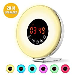 Wake Up Light Alarm Clock, [2018 UPGRADED] Digital Alarm Clock with Sunrise Simulation, 7 Colors Night Light, 6 Nature Sounds, FM Radio for Bedrooms and Heavy Sleepers