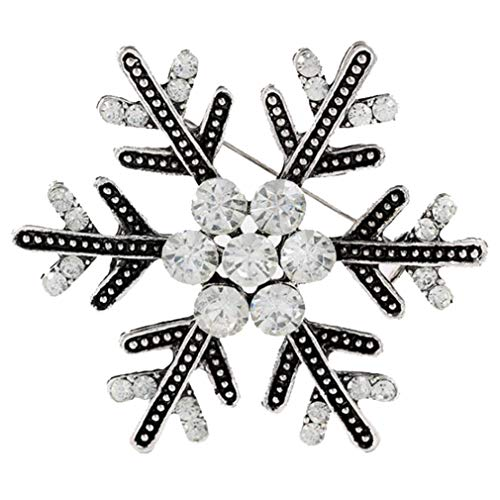 stal Winter Art Deco Snowflake Flower Antique Silver Brooch Pin Christmas Best Gift ()