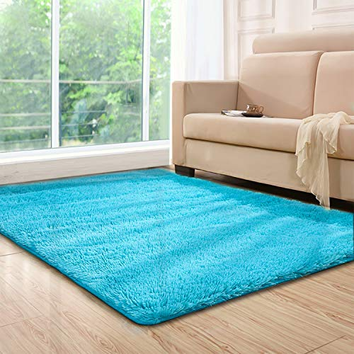 Lee D.Martin Indoor Area Rugs Living Room Bedroom Rectangle Ultra Soft Carpets Modern Shaggy Children Rugs Anti-Slip Backed Home Décor Rug,3.94'x5.25',Blue