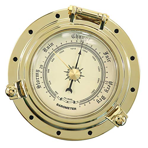 Wheel Barometer - Baoblaze Barometer Compensated Boat Ship Wheel Nautical Weather Instrument Gold