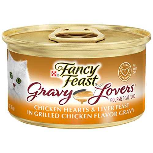 Purina Fancy Feast Gravy Wet Cat Food, Gravy Lovers Chicken Hearts & Liver Feast - (24) 3 oz. Cans