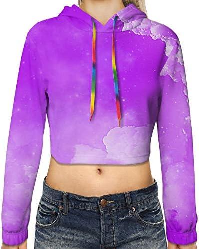 カラーグラフィティアート女性のプリント長袖クロップトップスウェットパーカースポーツジムオフィススクール
