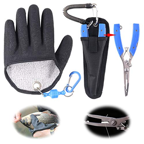 Hilitchi Magnet Fishing Gloves + Stainless Steel Fishing Pliers Multifunctional Hunting Glove and Stainless Steel Hook Removers Pliers with Sheath and Lanyard (Medium, Left)