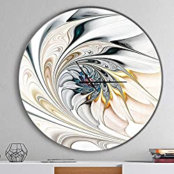 Designart White Stained Glass Floral Oversized Modern Metal Clock, Circle Wall Decoration Art, 38x38 Inches