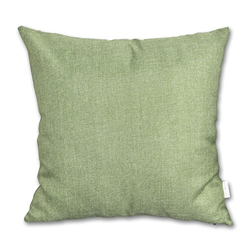 Decorative 18 X 18 Inch Linen Cloth Pillow Cover Cushion Case for Patio ,Green ()