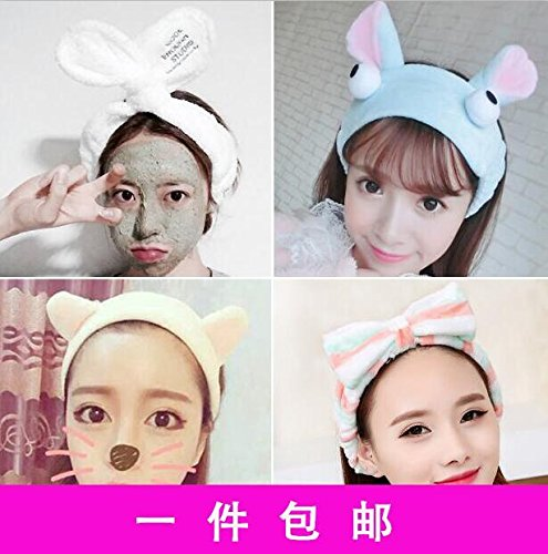 Elastic net red headband female personality ultra-wide bath with hair sprouting rabbit ears cute cute student for women girl lady by Generic