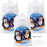 50 ~ Penguin Plastic Large Goody Bags ~ 17'' Long and 12'' Wide ~ New ~ Christmas Bags