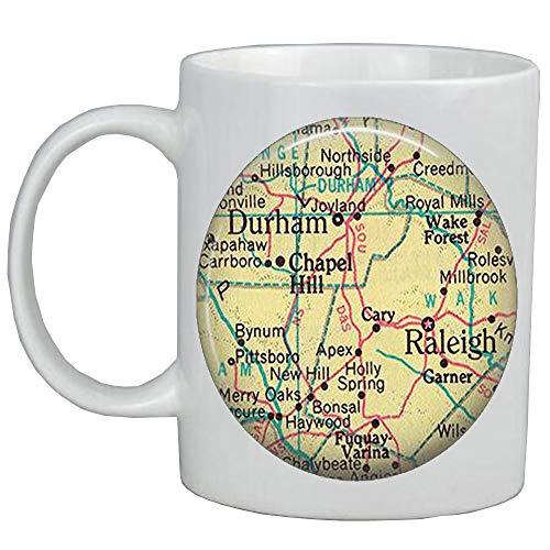 Fashion Coffee Mug Raleigh,North Carolina map Mug,Durham map Mug,map jewelry,map Coffee Mug,A0082 -