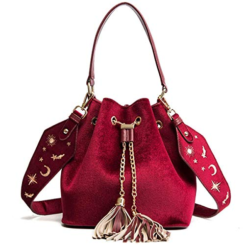 color Rojo Simple Bolsos Terciopelo Hombro Tamaño Bolso Rojo Las Señoras Los De Del vw4WEzq