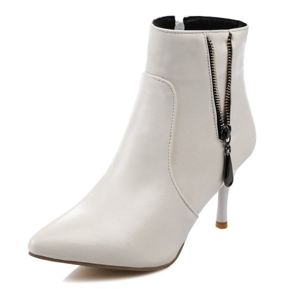 OCHENTA Women's Dressy Pointed Toe Stiletto High Heel Ankle Boots White Tag 39 - US 7.5