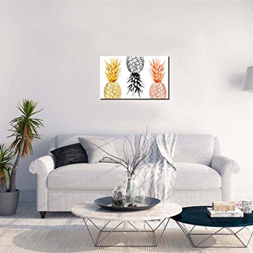 K-Road Framed Canvas Painting Pineapples Prints Home Wall Art Decor Fruit Picture Poster Office Kitchen Decoration 10 x 16in