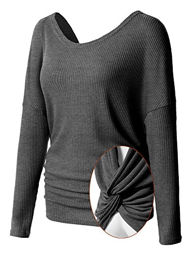 Lace Up Back Top (H2H Women's Long Sleeve Blouse Stretchy Loose Tops Backless Knit T Shirt Charcoal US S/Asia S (CWTTL0211))
