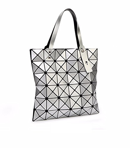 Geometric Madam Bag Handle Women Shoulder Bao Silver Casual Bag Plaid Tote Folded Top HxFd1
