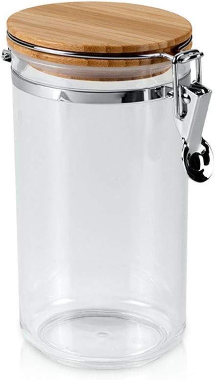 Metaltex 187104 - Bote Cocina acrílico Redondo, Tapa bambú, 1 litro