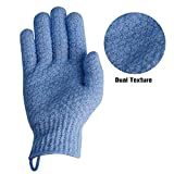 EvridWear Exfoliating Dual Texture Bath Gloves for Shower, Spa, Massage and Body Scrubs, Dead Skin Cell Remover, Gloves with Hanging Loop (1 Pair Moderate)