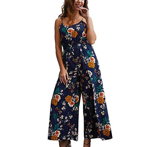 HYIRI Summer Beach Dress,Women's Lady Camisole Printed Rompers Jumpsuit Dark Blue