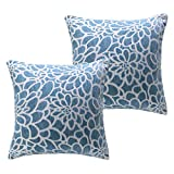 SEPTEMBER HOME Throw Pillow Covers Flower Cotton Linen Cushion Cover Handmade Decorativ Throw Pillow Case for Couch Decoration Solid Dyed Soft Chenille(Pack of 2) (Blue, 20X20)
