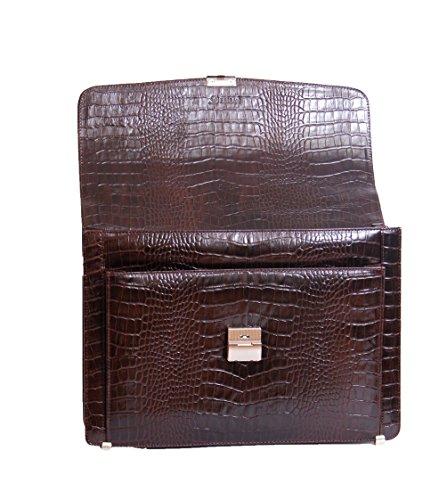 Herren Leder Aktentasche David Kombinationsschloss Luxus Italienisch Braun Croc Laptop-Tasche
