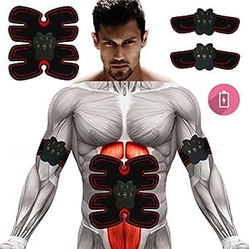 2019EUATEO EMS Abs Trainer Ab Belt, Tónico para músculos abdominales, Correas de tonificación corporal, Ab Toner Máquina de entrenamiento para fitness / Máquina para abdominales Ab Workout Equipment para hombres y mujeres (Rojo)
