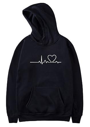 SIMYJOY Pärchen Herzschlag Kapuzenpullover Herz Hoodie ECG Cool Simple  Strassenmode Sweatshirt für Liebespaar Herren Damen Jugendlich  Amazon.de   Bekleidung 01612f54f9
