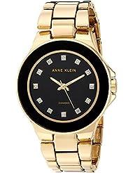 Anne Klein Womens AK/2754BKGB Diamond-Accented Gold-Tone Bracelet Watch