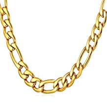"""U7 Classic Men Necklace 9MM Figaro Chain 18K Gold Plated/Black Gun/Stainless Steel Jewelry,18""""-30"""""""
