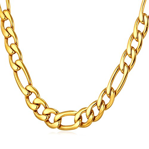 Gold Plated Chain Necklace Jewelry - U7 Men Chunky Necklace Cool Punk Jewelry 18K Stamp Stainless Gold Plated 9MM Wide Figaro Chain 26 Inch