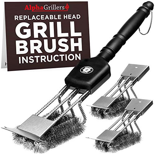 Alpha Grillers Grill Brush Scraper with 3 Replaceable Heads | Best BBQ Cleaner, Tools for All Grill Types | Stainless Steel Wire Bristles and Stiff 18 In Handle Ideal Barbecue Accessories (Renewed)