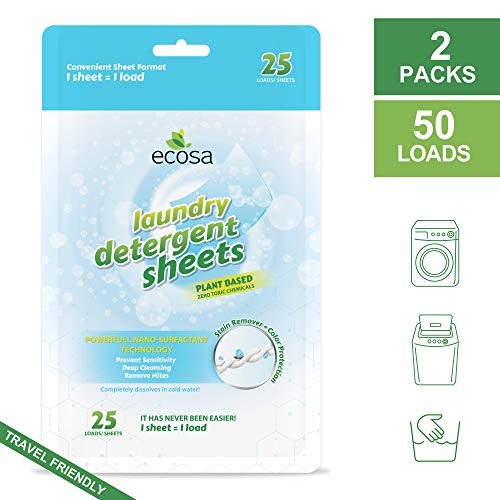 Ecosa Laundry Detergent Sheets/Power Sheet - Travel, Eco Friendly& Portable - 50 Loads