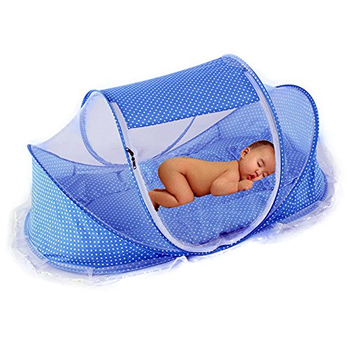 Baby Bed Mosquito Net Bed Canopy Infant Travel Tent Portable Babies Cots Newborn Foldable Crib Folding Todder Mosquito Nets with Mattress Pillow by Finebaby