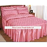 Double Size Pink Rubey Luxury Quilted Satin Bedspread +2 Pillowshams Double Bed Throw Fitted with Frill