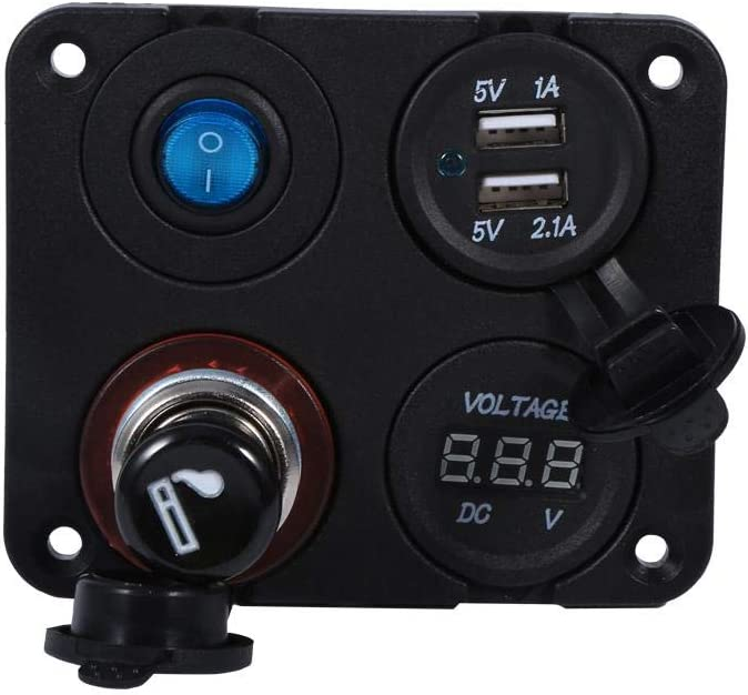 Boat Car Switch Panel 1 Marine Bost Car RV Voltmeter Dual USB Port 12V Socket 4 Hole Panel Switch