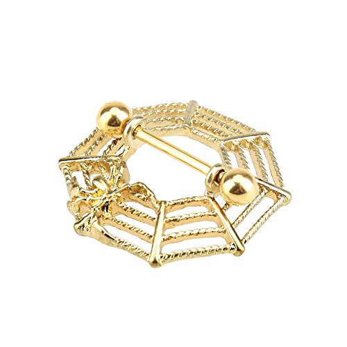 (Spider Web Style Body Piercing Ring Dangling Nipple Ring Body Jewelry )