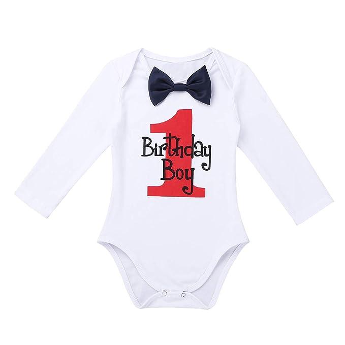 CHICTRY Mameluco Peleles Bebés Niños 1 Años Manga Larga Romper Camiseta Blanca Traje de Cumpleaños Bautizo Infantil Monos Bodies Bebé para Boda Fiesta: ...